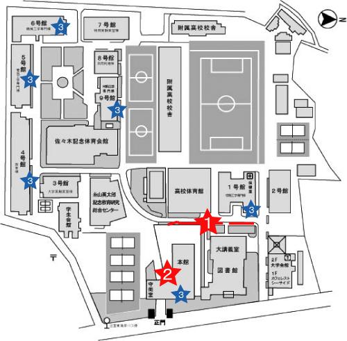 大学構内での主な掲示板場所