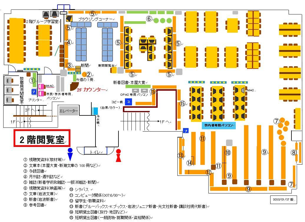 湘南工科大学附属図書館2階フロアガイド